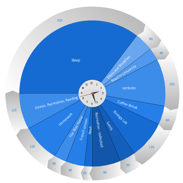 Daily activities pie chart, pie chart, circular arrow diagram, circular motion diagram,