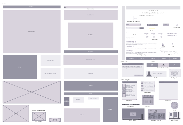 Website wireframe design elements, website title, webpage title, weather forecast, web widget, video player, web widget, vertical strip, vertical separator line, toolbar, summary, standard command button, source, site map, sidebar, services, section, pull quote, profile, online map, web widget, newsletter sign up, news feed, web widget, navigation, menu, mark, main, logo, list, links, infographic box, image box, horizontal stripe, horizontal separator line, full screen, horizontal separator line, headings group, header, graphic indicator box, footer, follow on social media, figure and figcaption, embed icon, embed, drawing shapes, dialog window, diagram box, details, default command button, dashboard, web widget, dashboard, copyright notice, contact information, clock, web widget, chart box, canvas, call to action, calendar, web widget, bulleted list item, bullet symbol, body content, blogroll, blog feed, web widget, background, audio player, web widget, article, advertising, address bar,