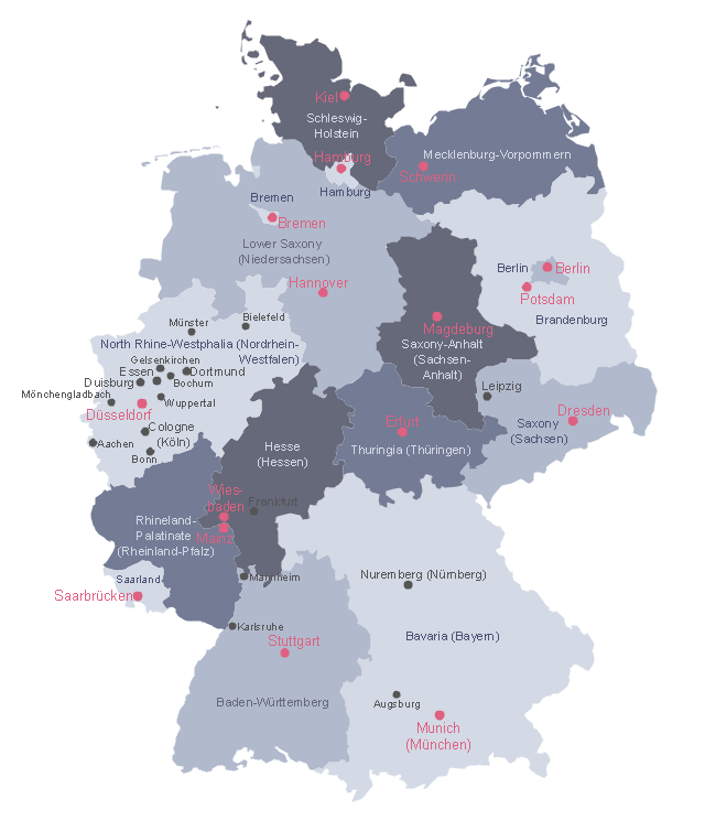 States and cities map example, Germany divisions,
