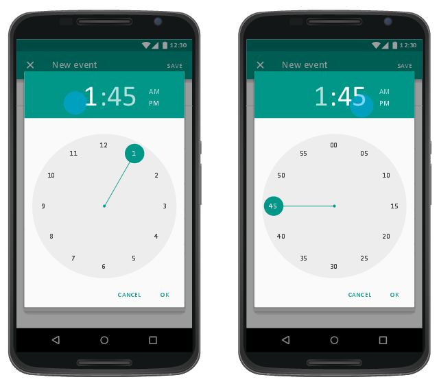 Time picker dialog, time picker, text field, floating label, text field, navigation bar, inline menu icon, full-width text field, full-screen dialog app bar, flat button, drawing shapes, dimmed background, Nexus 6,