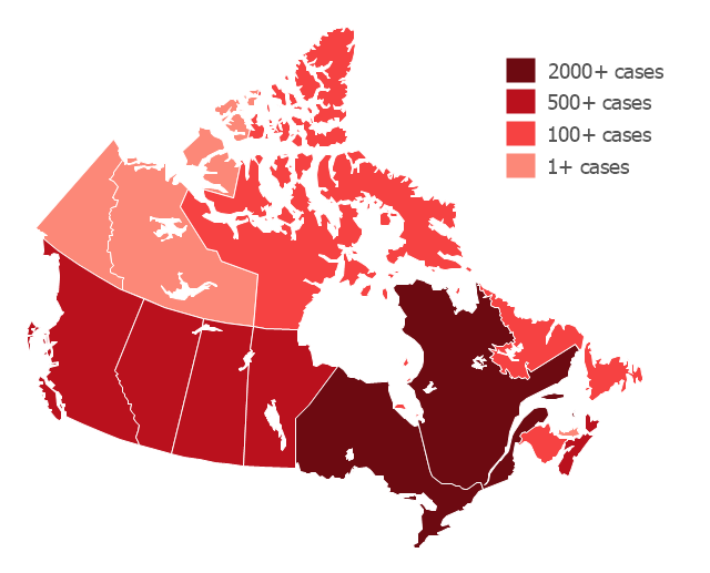 Thematic map -  Flu pandemic in Canada, Canada, Canada map,