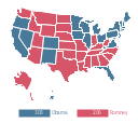 Thematic map - 2012 US presidential election, USA, United States of America, U.S.A., United States, US, U.S., America, Hawaii, Alaska,