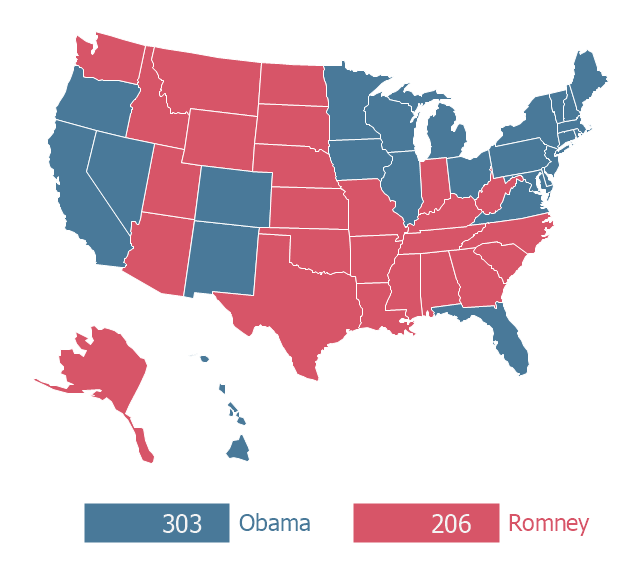 United States Presidential Election Results - 2012 us presidential election map