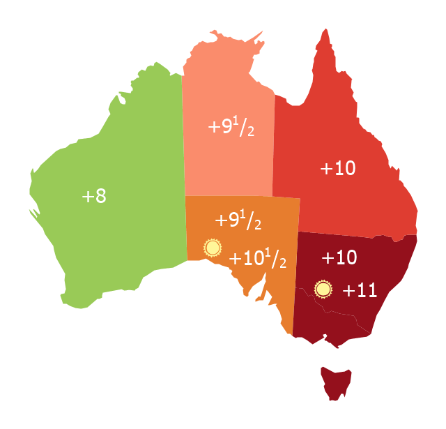 Thematic map - Australia states time zones, Australia, Australia map,