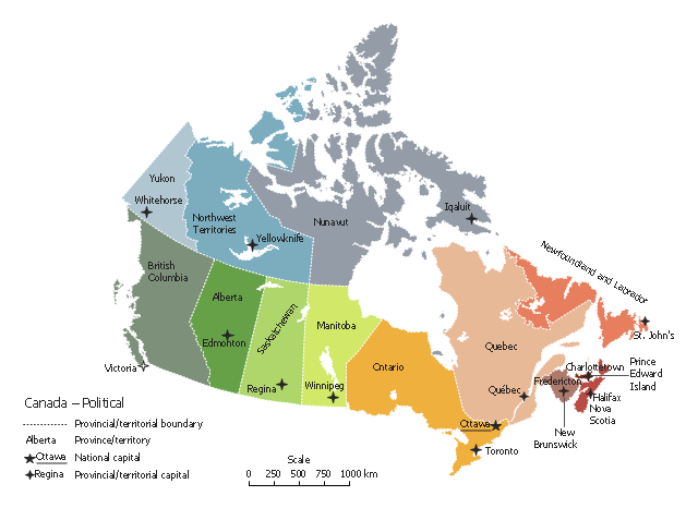 Canada Political Map - The political map of canada