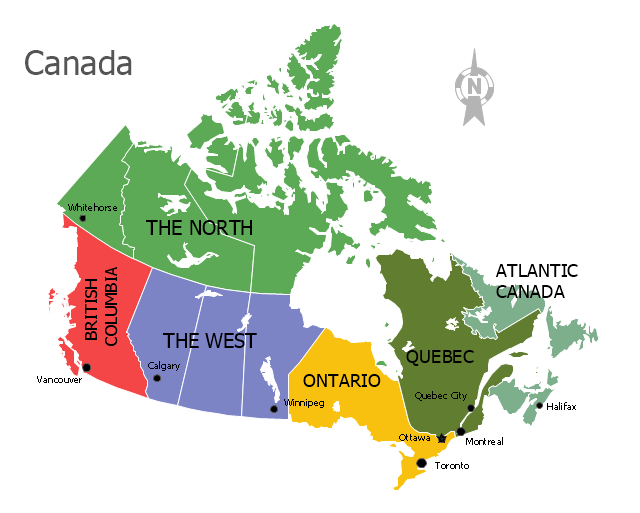 Political map - Canada regions, North, Canada, Canada map,