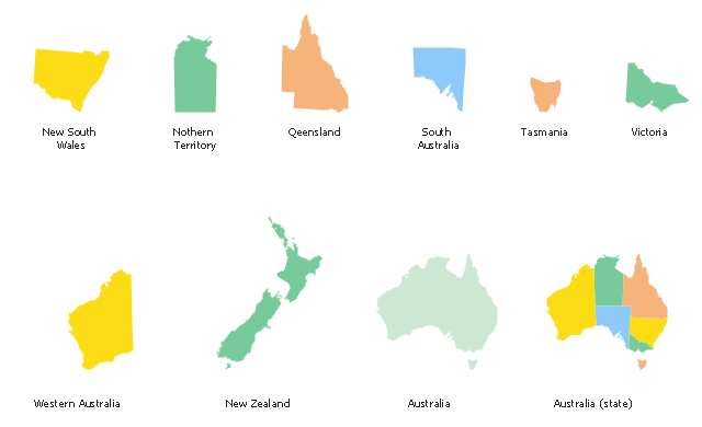 Map Of Australia New Zealand And Tasmania.Design Elements Australia