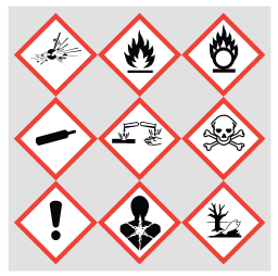 Chemical safety infographic, GHS09 environmental hazard, hazard communication standard pictogram, environment, aquatic toxicity, GHS08 health hazard, hazard communication standard pictogram, health hazard, GHS07 harmful, hazard communication standard pictogram, exclamation mark, GHS06 toxic, hazard communication standard pictogram, skull and crossbones, GHS05 corrosive, hazard communication standard pictogram, corrosion, GHS04 compressed gas, hazard communication standard pictogram, gas cylinder, GHS03 oxidizing, hazard communication standard pictogram, flame over circle, GHS02 flammable, hazard communication standard pictogram, flame, GHS01 explosive, hazard communication standard pictogram, exploding bomb,