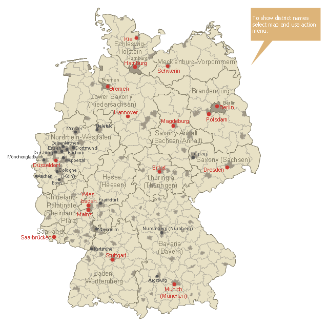Germany Districts Map Template - Luneburg germany map