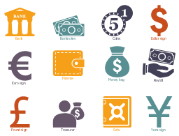 Workflow icons, yena sign, treasurer, safe, pound sign, payroll, money bag, finance, euro sign , dollar sign, coins, banknotes, bank,