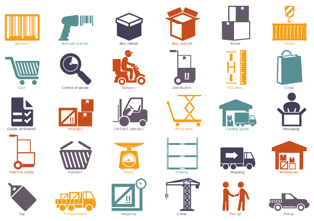 Workflow icons, weighing, warehouse, storage, transportation, tag, shipping, shelves, scales, pushcart, platform trolley, pickup, pick up, meeting, packaging, loading goods, lifting table, lift track, stacker, inventory, goods verification, goods, elevation, distribution, delivery, crane, control of goods, cart, cargo, boxes, box, opened, box, closed, barcode scanner, barcode,