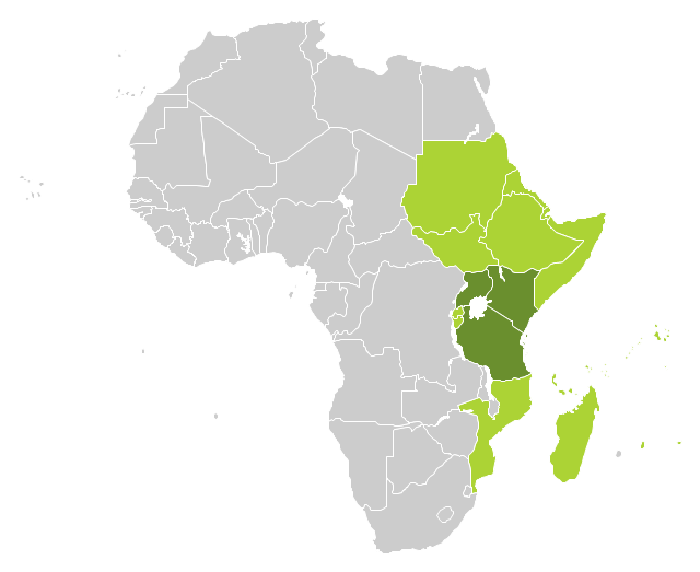 Political map - East Africa, Africa,