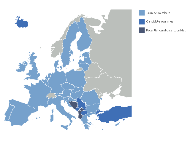 Political map - European Union, Turkey, Europe, Cyprus,