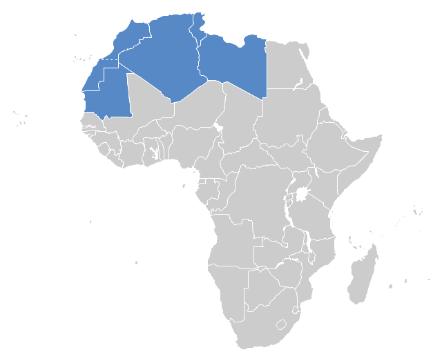 Political map - Maghreb countries, Africa,