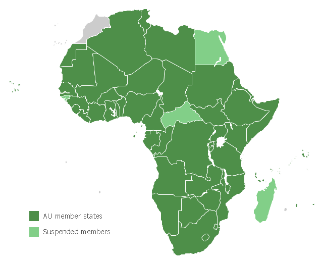 African Union Map.Map Of The African Union With Suspended States Continent