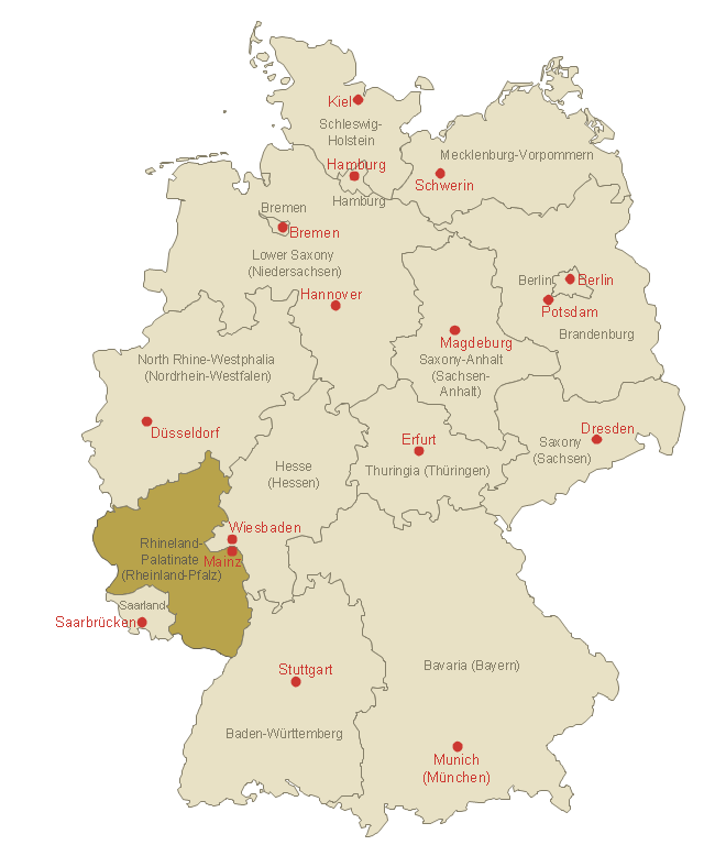Rhineland-Palatinate location on the Germany map, Germany divisions,