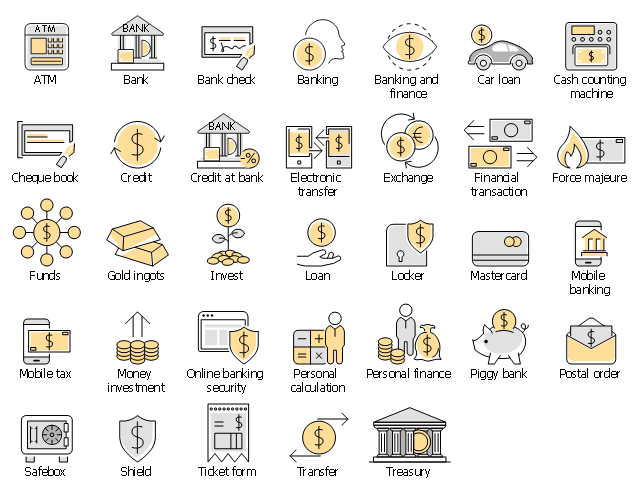 Infographic elements, treasury, transfer, ticket form, shield, safebox, postal order, piggy bank, savings, personal finance, personal calculation, online banking security, money investment, mobile tax, mobile banking, mastercard, locker, loan, invest, gold ingots, funds, force majeure, financial transaction, exchange, electronic transfer, drawing shapes, credit at bank, credit, cheque book, cash counting machine, car loan, banking and finance, banking, bank check, bank, ATM,