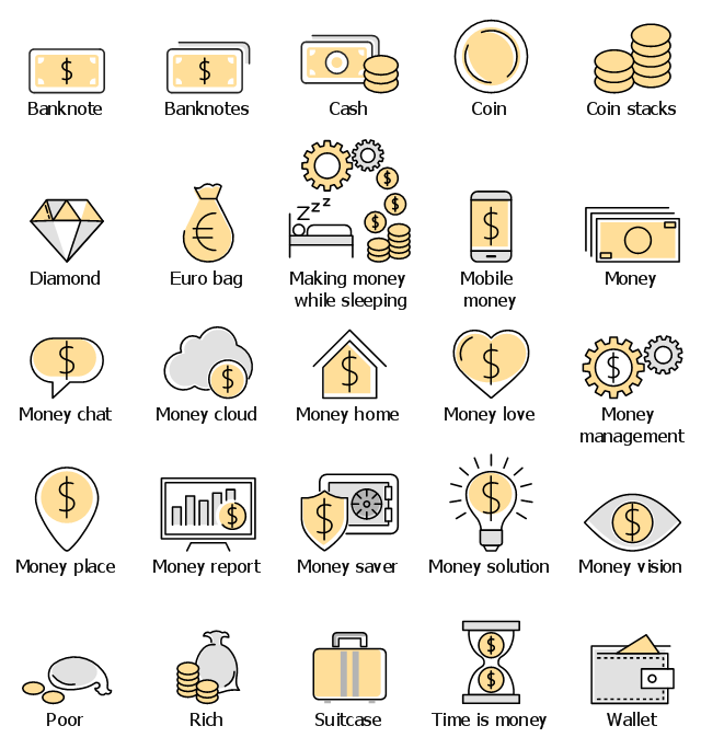 Infographic elements, wallet, time is money, suitcase, rich, poor, money vision, money solution, opportunity, money saver, money report, money place, money management, money love, money home, money cloud, money chat, money, mobile money, making money while sleeping, euro bag, drawing shapes, diamond, coin stacks, coin, cash, banknotes, banknote,