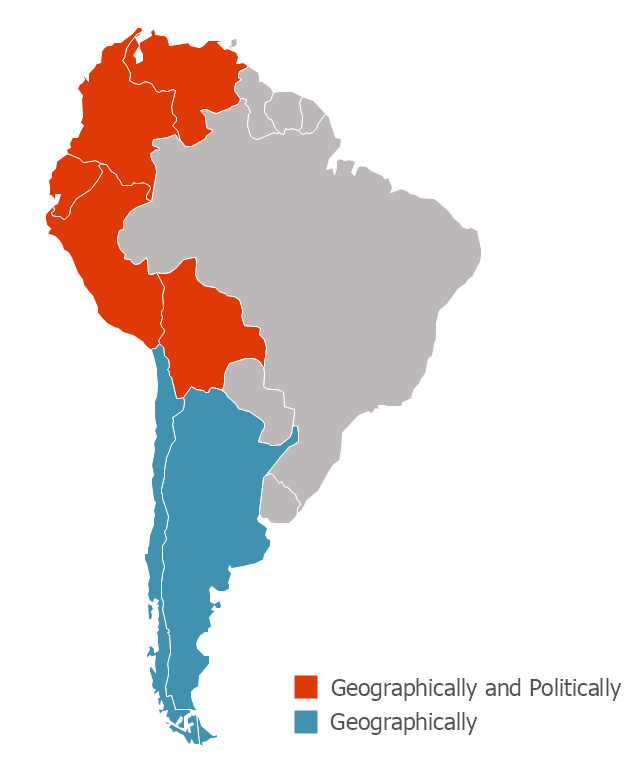 Political map - Andean states, South America, South America map,