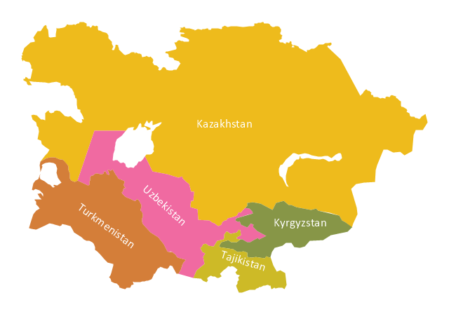 Political map - Central Asia, Central Asia,