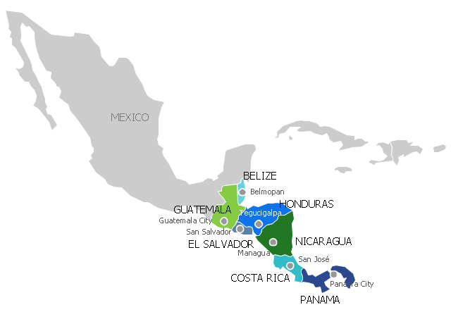 Geo Map South America Nicaragua Political map of Central