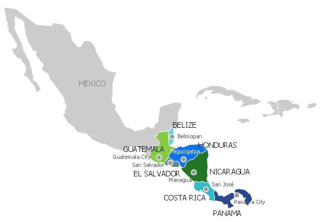 Political map - Central America, Central America,