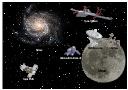 Vector illustration, radio telescope, galaxy, astronaut, cosmonaut, space tourist, spaceman, SpaceShipTwo, SS2, Soyuz TMA, Moon, Lunar rover,