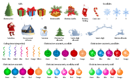 Vector clip art, Сhristmas candles, snowman, snowflake, reindeer silhouette, deer silhouette, house covered with snow, gift, present, curling stream, serpentine, candy cane, Santa's sleigh silhouette, Santa's sleigh, Santa Claus, Santa Claus with a bag, Christmas tree silhouette, Christmas tree ornament, Christmas tree, Christmas stocking, Christmas bells,