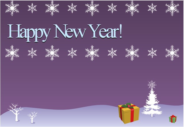 new year card christmas snowflakes and presents template