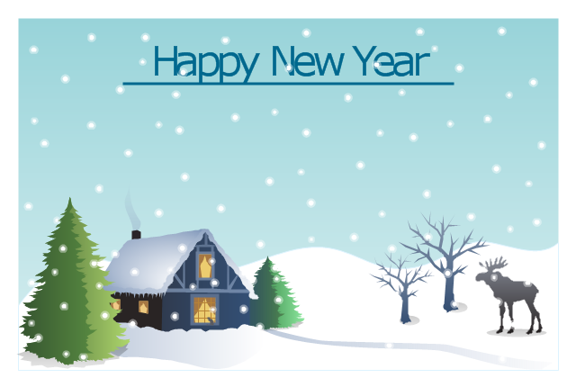 new year card christmas winter landscape template