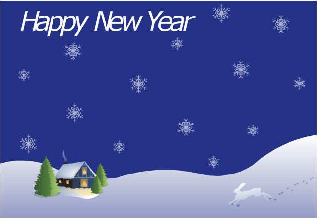 Vector illustration, snowflake, house covered with snow, hare, Christmas tree,