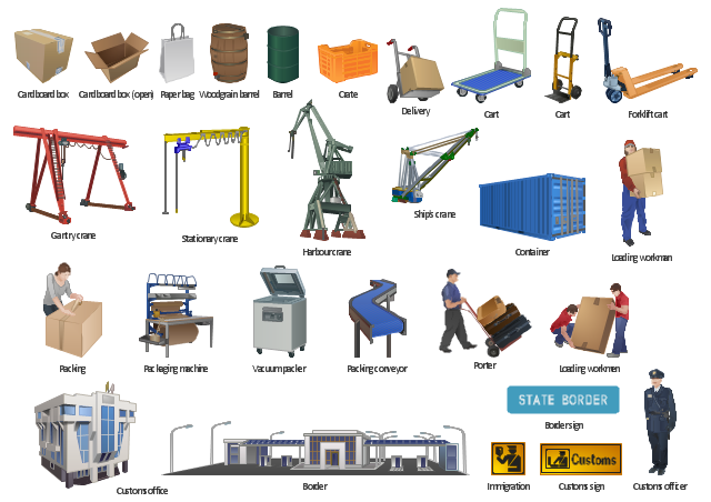 Vector clip art, woodgrain, barrel, vacuum packer, stationary crane, ship, crane, porter, paper bag, packing conveyor, conveyor, packing, packaging machine, loading workmen, loading workman, warehouse worker, immigration, harbour crane, gantry crane, forklift cart, pallet truck, delivery, customs sign, customs officer, customs office, crate, container, cart, cardboard, box, cardboard box, border, border point, border sign, barrel, oil barrel,