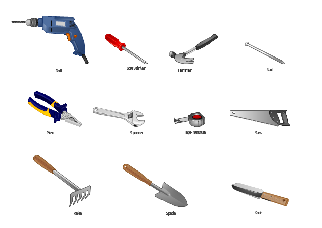 Vector clip art, tape-measure, tape measure, spanner, spade, screwdriver, saw, rake, pliers, nail, knife, hammer, drill,