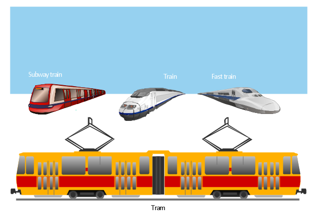 Vector illustration, tram, train, fast, train, subway, tube, metro, underground, train,