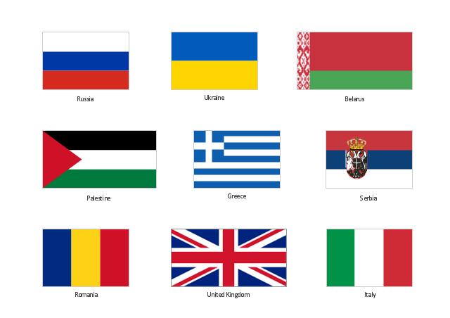 Clip art, United Kingdom, Great Britain, UK, Ukraine, Serbia, Russia, Romania, Palestine, Italy, Greece, Belarus,