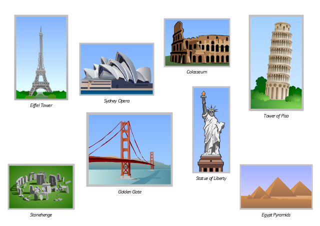 Vector clip art, Tower of Pisa, Sydney Opera, Sydney Opera House, Stonehenge, Statue of Liberty, Golden Gate, Golden Gate Bridge, Eiffel Tower, Egypt pyramids, Colosseum ,