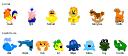 Cartoon, whale, rooster, rocking-horse, piglet, octopus, medusa, marmoset, lion, giraffe, frog, fish, dolphin, crocodile, crab,