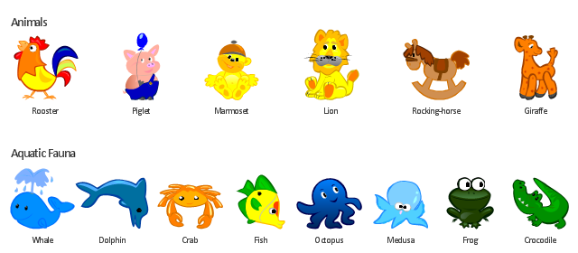 Cartoon, whale, rooster, rocking-horse, piglet, octopus, medusa, marmoset, lion, giraffe, frog, fish, dolphin, crocodile, crab,