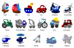 Cartoon, yacht, truck crane, tractor, snowmobile, ship, rocket, lorry, locomotive, helicopter, excavator, concrete mixer, car, brig, airplane, plane, Airbus, plane,