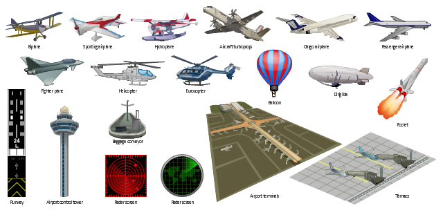 Vector clip art, sporting airplane, runway, rocket, radar screen, passenger airplane, hydroplane, helicopter, eurocopter, helicopter, fighter plane, battle-plane, battleplane, battle plane, dirigible, zeppelin, blimp, cargo airplane, biplane, balloon, baggage conveyor, airport, control tower, airport terminals, aircraft turboprops, Tarmacs,