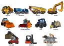 Vector clip art, truck crane, crane, tractor, reach stacker, intermodal cargo container, uploading, grain harvester combine, forklift truck, wooden crate, forklift truck, excavator, dumper, dump truck, container loader, cargo loader, K loader, K. loader, K-loader, concrete mixer, bulldozer,
