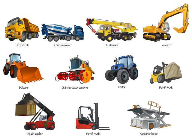 , dumper, dump truck, concrete mixer, truck crane, crane, excavator, bulldozer, grain harvester combine, tractor, forklift truck, wooden crate, reach stacker, intermodal cargo container, uploading, forklift truck, high loader