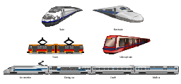 Vector clip art, tram, train, fast, train, subway, tube, metro, underground, train, mail, car, carriage, coach, locomotive, dining, car, carriage, coach, coach, car, carriage,