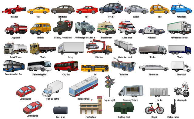 Vector clip art, wrecker, walkie-talkie, truck, trolleybus, trailor, trailer, taxi, signal light, lights, traffic light, sightseeing bus, bus, semi truck, sedan, refrigeration truck, race car, police car, petrol tanker, motorcycle, minibus, military ambulance, lorry, limousine, hatchback, fuel tank, first aid tent, fire station, estate car, encashment, double-decker, bus, container truck, city bus, bus, catering vehicle, car, bus, bicycle, armored, police vehicle, appliance, ambulance, 4x4,