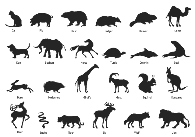 Vector silhouettes, wolf, turtle, tiger, squirrel, snake, seal, pig, lion, kangaroo, horse, hedgehog, hare, goat, giraffe, elk, elephant, dolphin, dog, deer, cat, camel, beaver, bear, badger,