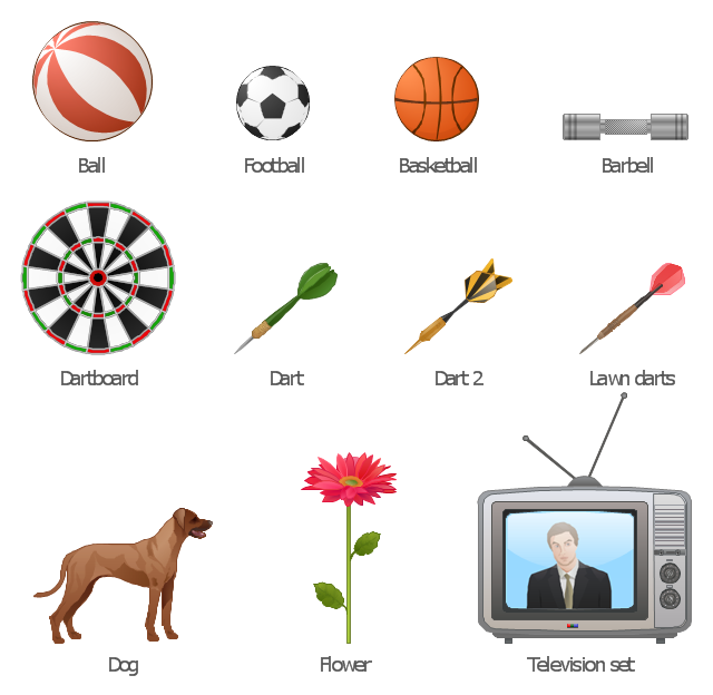 Vector clip art, television, TV, set, target, dartboard, flower, dog, dart, lawn darts, dart, darts, bootball, ball, basketball, ball, barbell, ball,