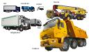 Vector illustration, truck crane, crane, truck, trailer, semi truck, refrigeration truck, dumper, dump truck, concrete mixer,