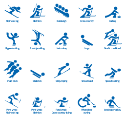 Winter sports,  wheelchair curling, speed skating, snowboard, ski jumping, skeleton sport, skeleton, short track speed skating, short track, paralympic cross-country skiing, paralympic biathlon, paralympic alpine skiing, nordic combined, luge, ice sledge hockey, ice hockey, freestyle skiing, figure skating, curling, cross-country skiing, cross-country, bobsleigh, biathlon, alpine skiing