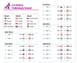 Men's hockey tournament schedule,  winter sports pictograms, USA, United States, Switzerland, Sweden, Slovenia, Slovakia, Russia, Norway, Latvia, ice hockey, Finland, Czech Republic, Canada, Austria