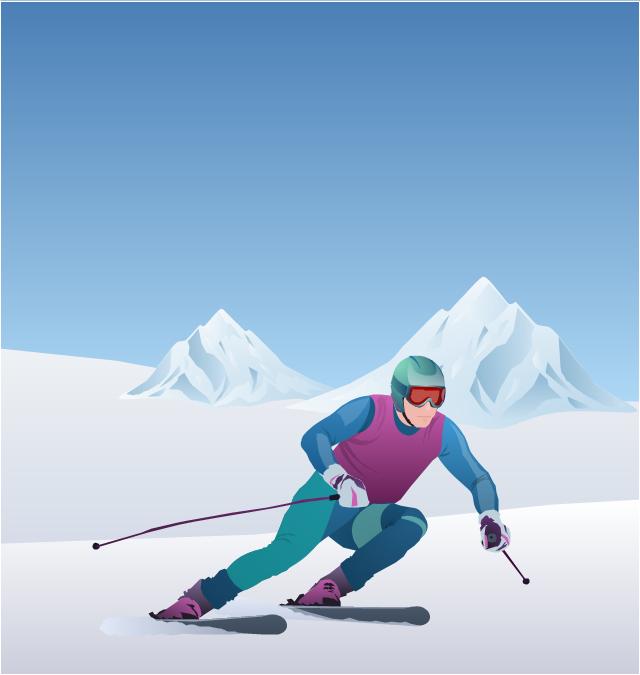 ,  winter sports vector clipart, Winter Olympics vector clipart, alpine skier